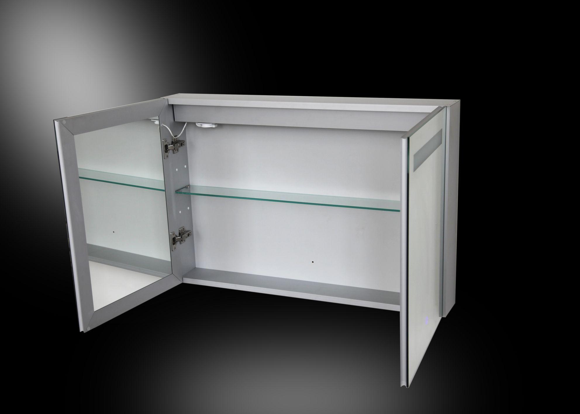 aluma spiegelkast led verlichting 900x600x135mm aluminium